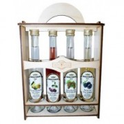 4 different flavor palinka Wood box  with dried fruit by Bolyhos